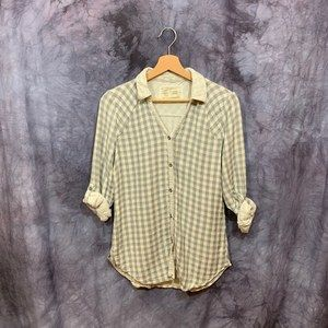 Anthropologie Gray Soft Checked Button Down XS